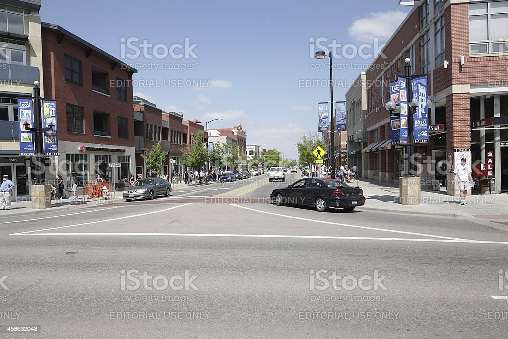 looking east on Pearl Street, downtown Boulder, Colorado stock photo