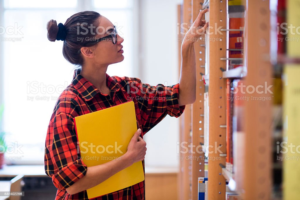 Looking for a book? stock photo