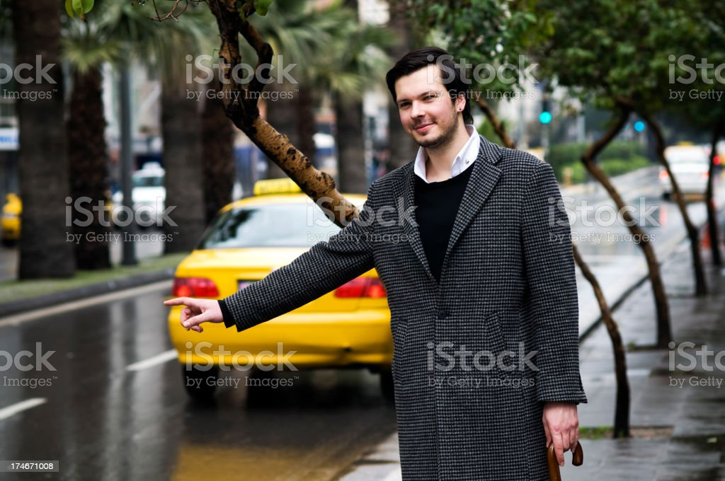 Looking for a cab... royalty-free stock photo