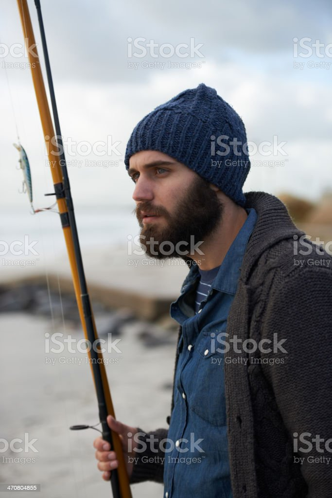 Looking for a good spot to fish stock photo