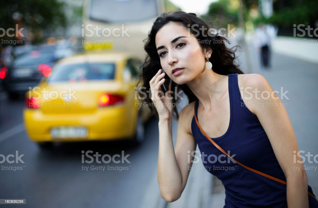 Looking for a Taxi royalty-free stock photo