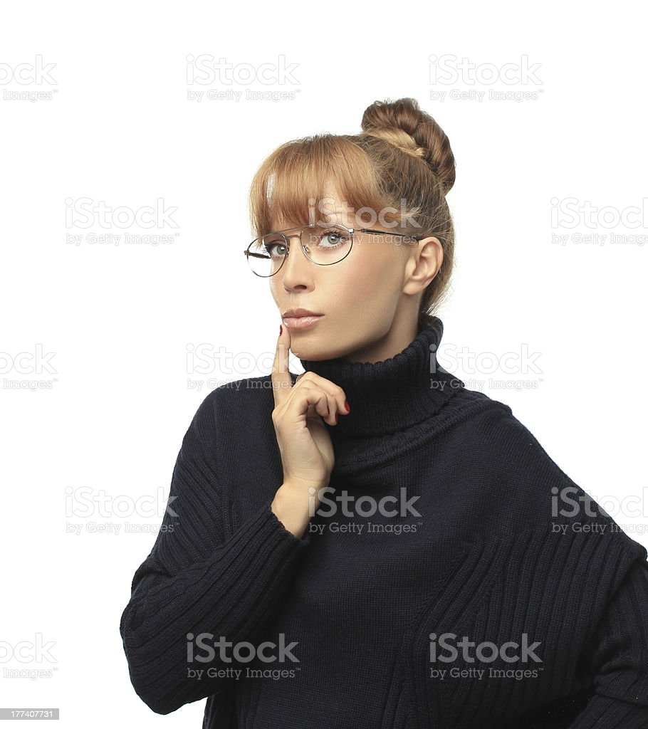 Looking for an idea.Portrait of thinking woman with glasses. royalty-free stock photo