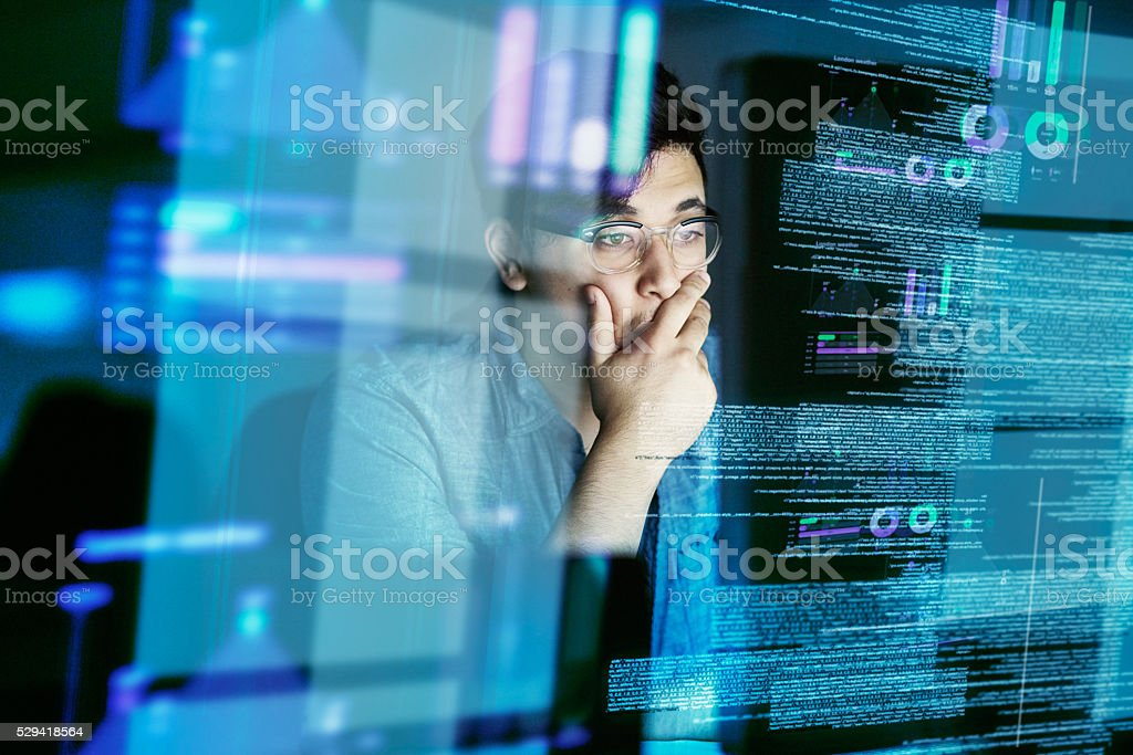Looking for bugs in the code stock photo