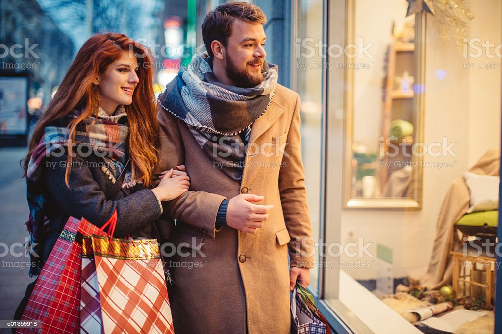 Looking for Christmas gifts stock photo