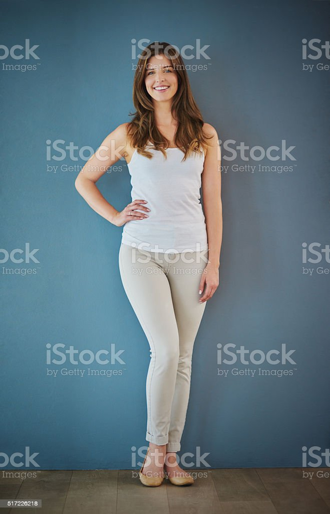 Looking for confidence and casual style? She's got both stock photo