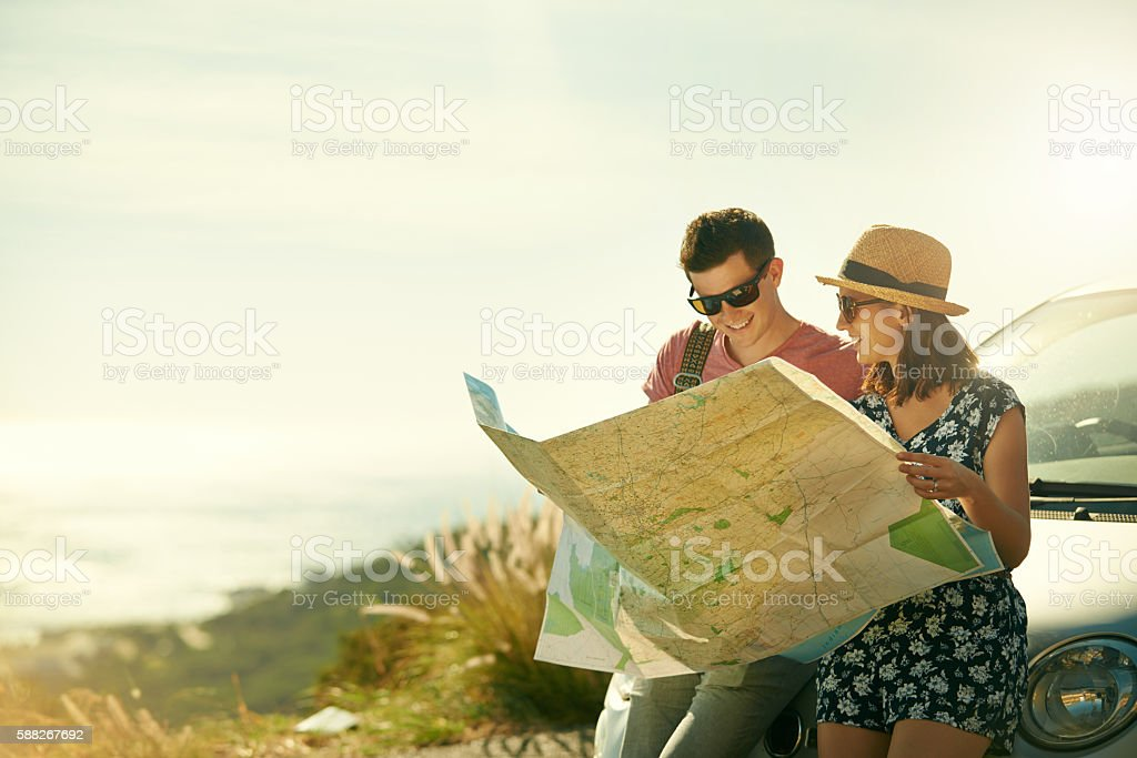 Looking for directions stock photo