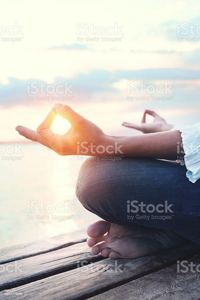 looking for god meditation stock photo