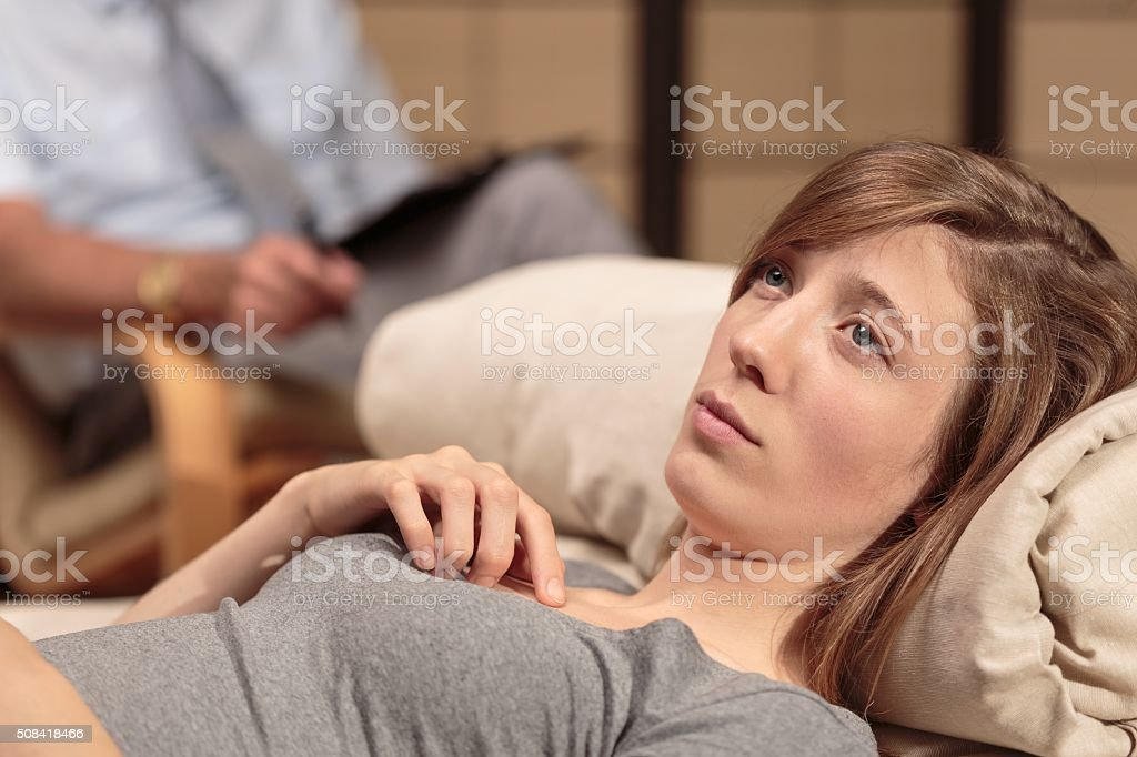 Looking for help at a therapy stock photo