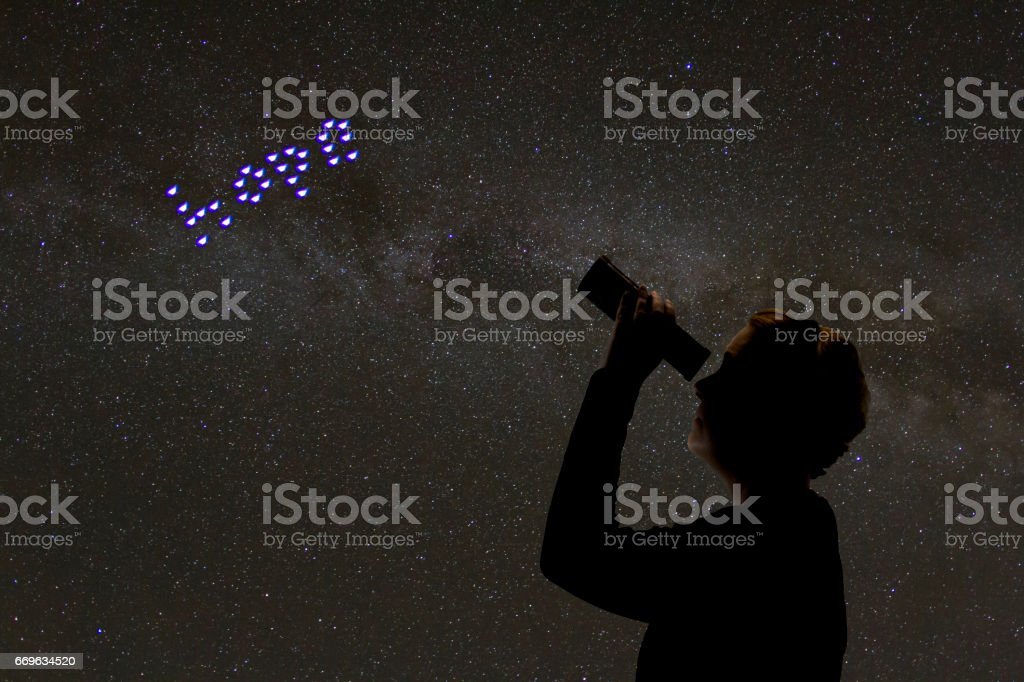 Looking for hope in the stars stock photo