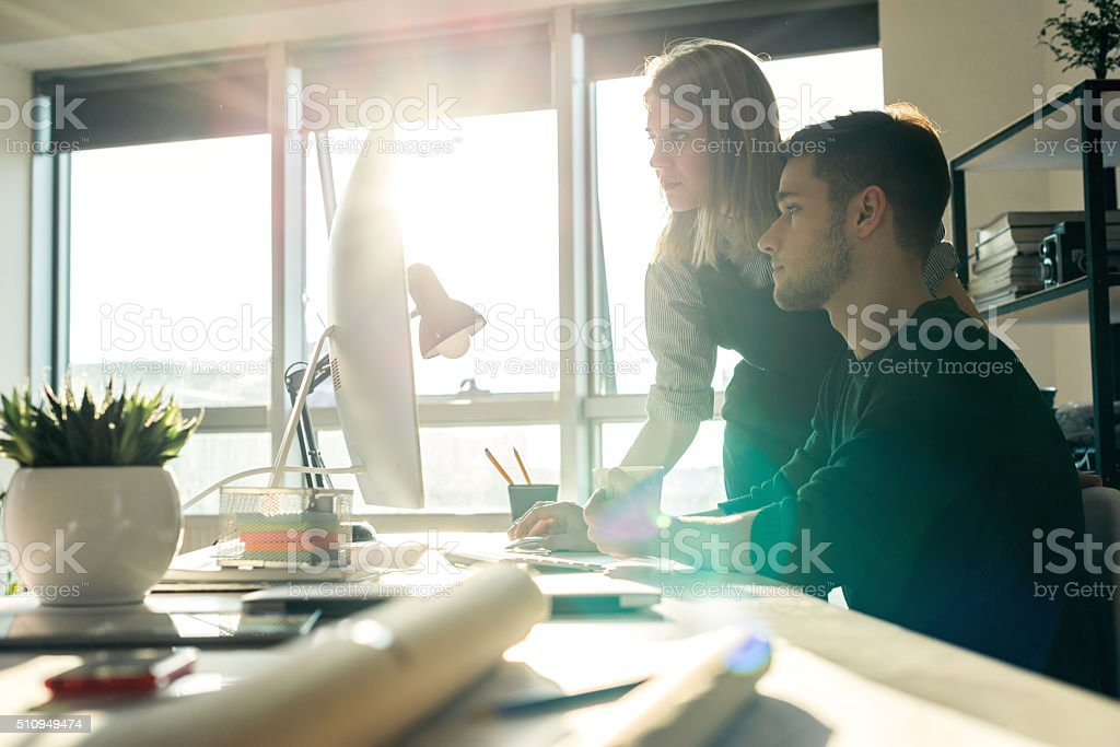Looking for ideas online stock photo