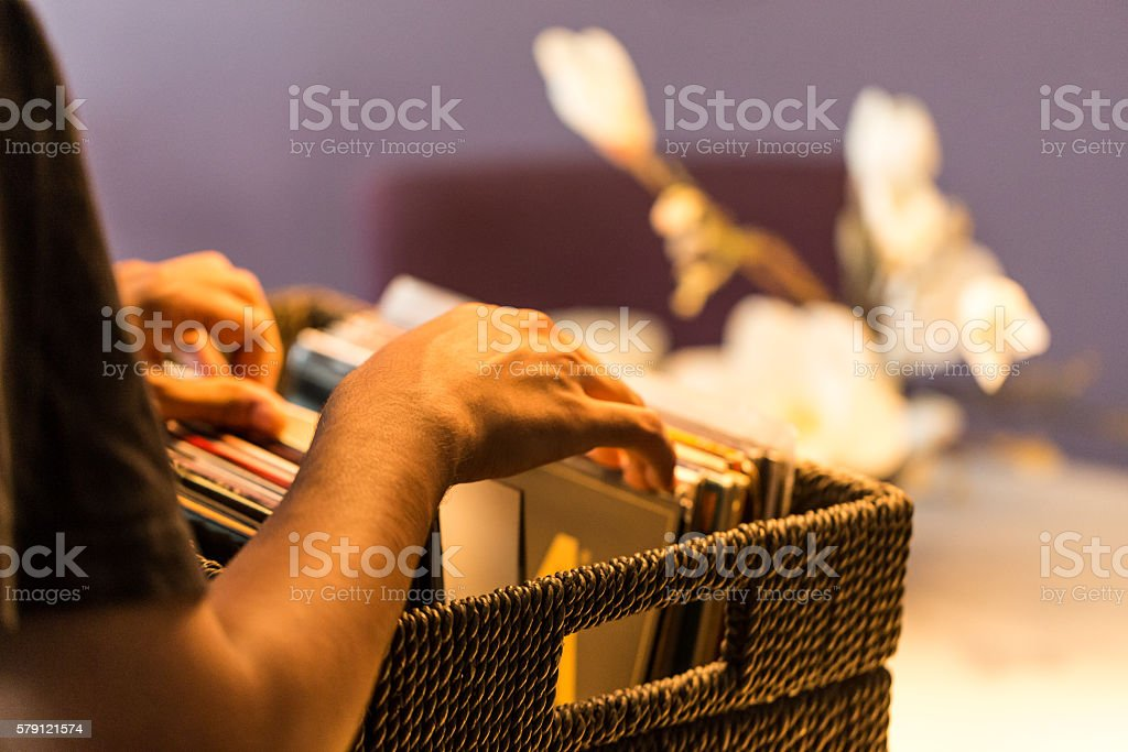 Looking for my favorite record stock photo