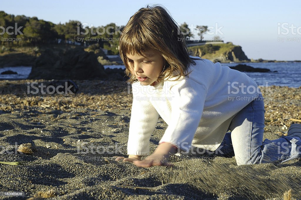 Looking for seashells stock photo