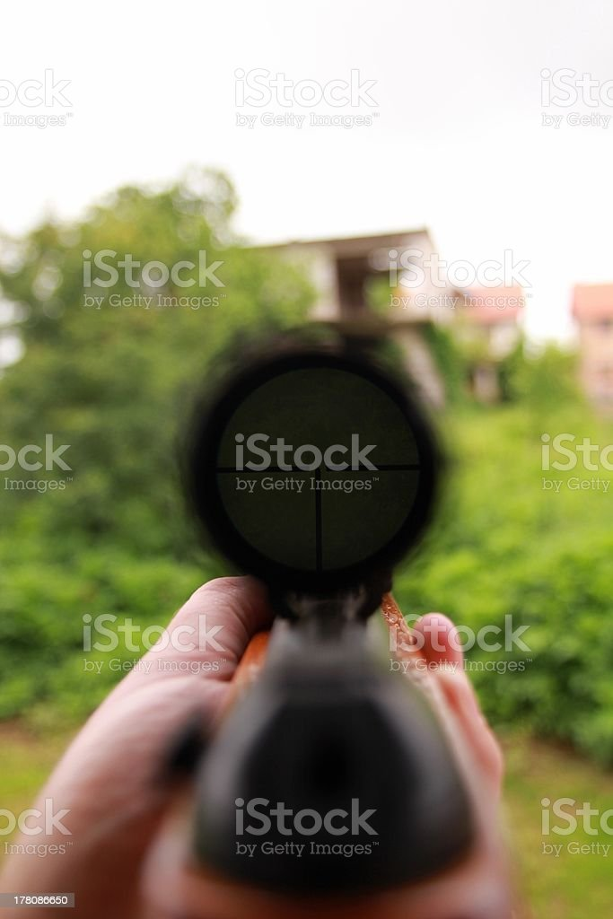 Nach Ziel in gunpoint. Lizenzfreies stock-foto
