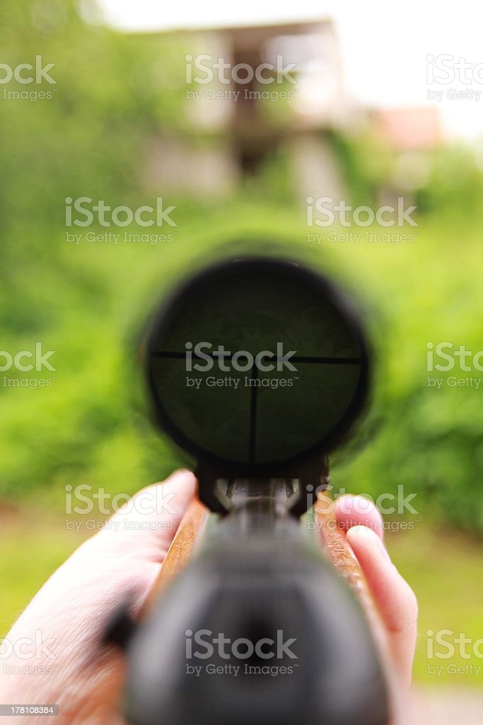 Looking for target into gunpoint. royalty-free stock photo