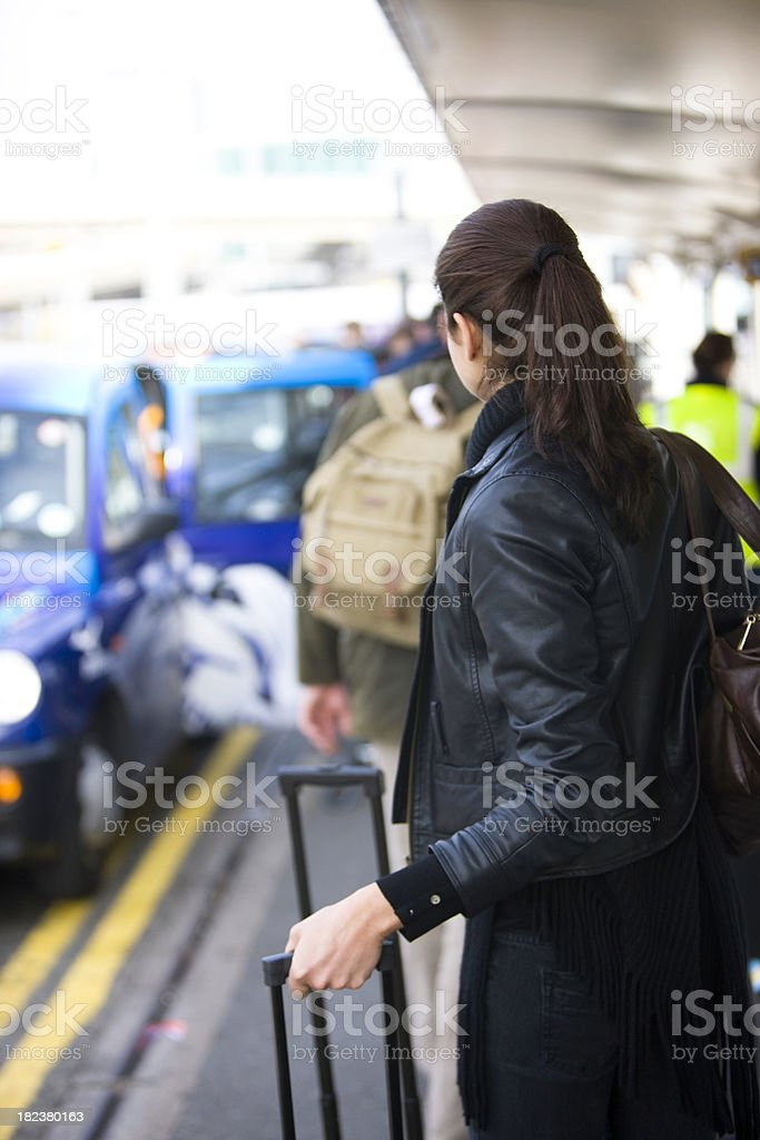 Looking for taxi royalty-free stock photo