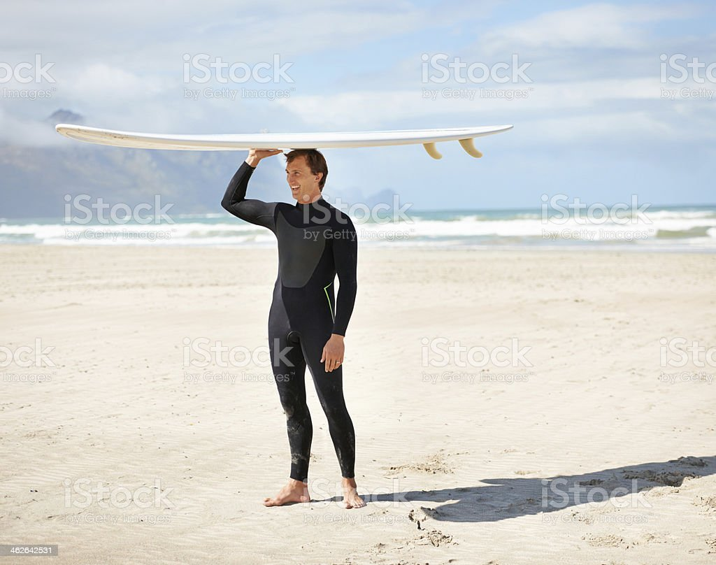 Looking for the big waves! stock photo
