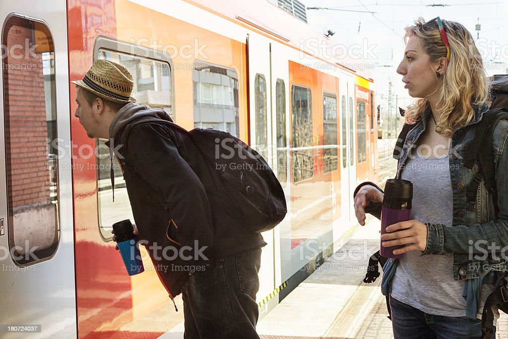 looking for the right train royalty-free stock photo
