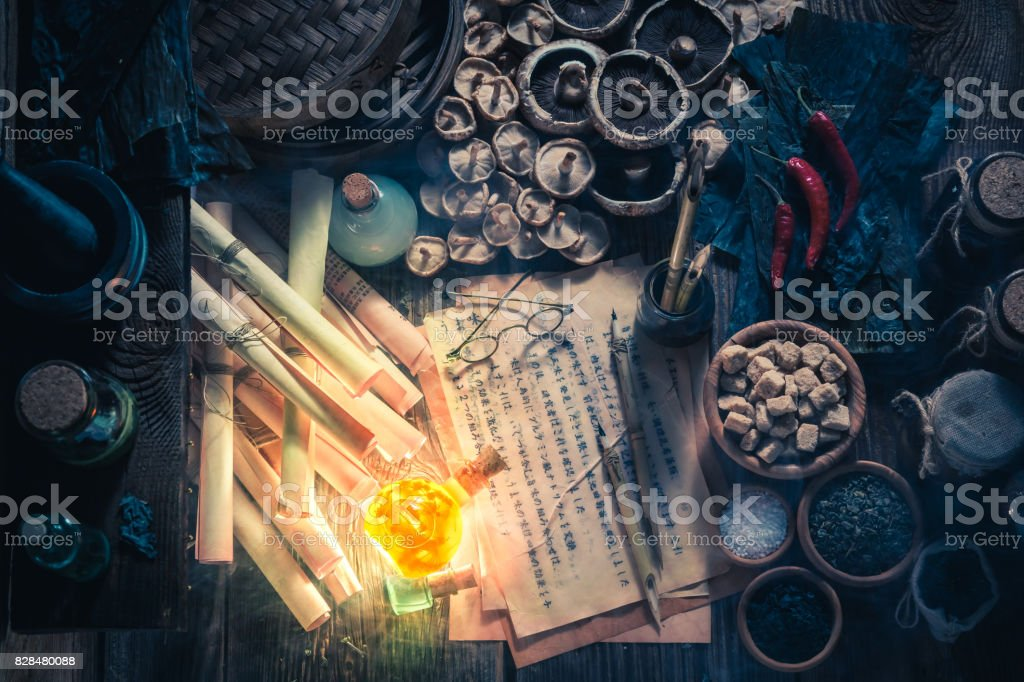 Looking for umami taste in magical alchemist laboratory stock photo