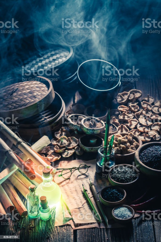 Looking for umami taste in magical kitchen laboratory stock photo