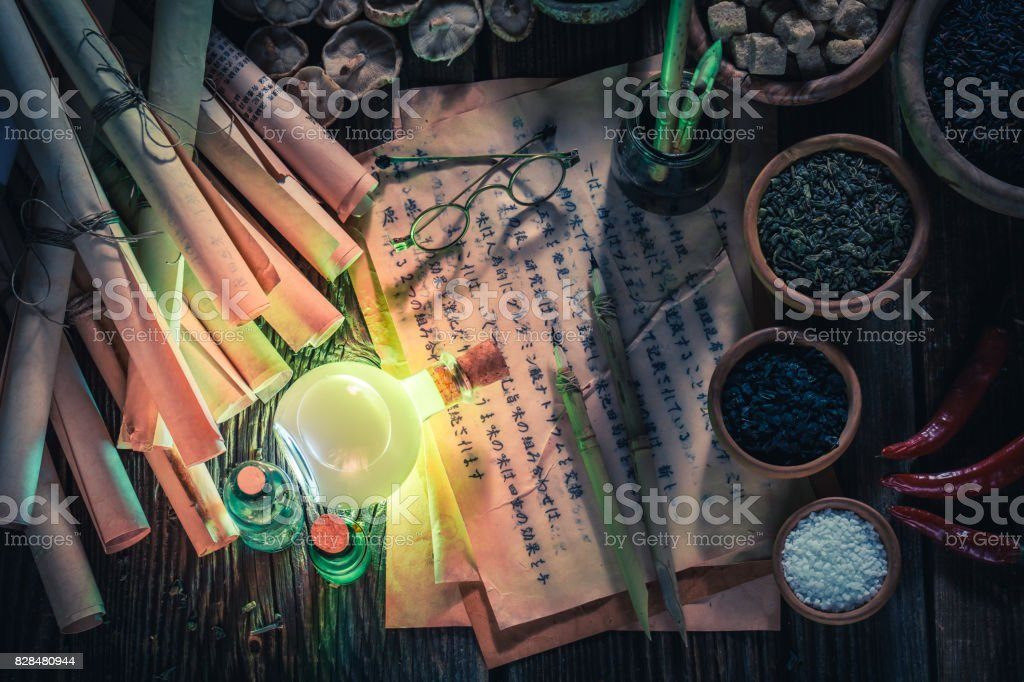 Looking for umami taste in magical research lab stock photo