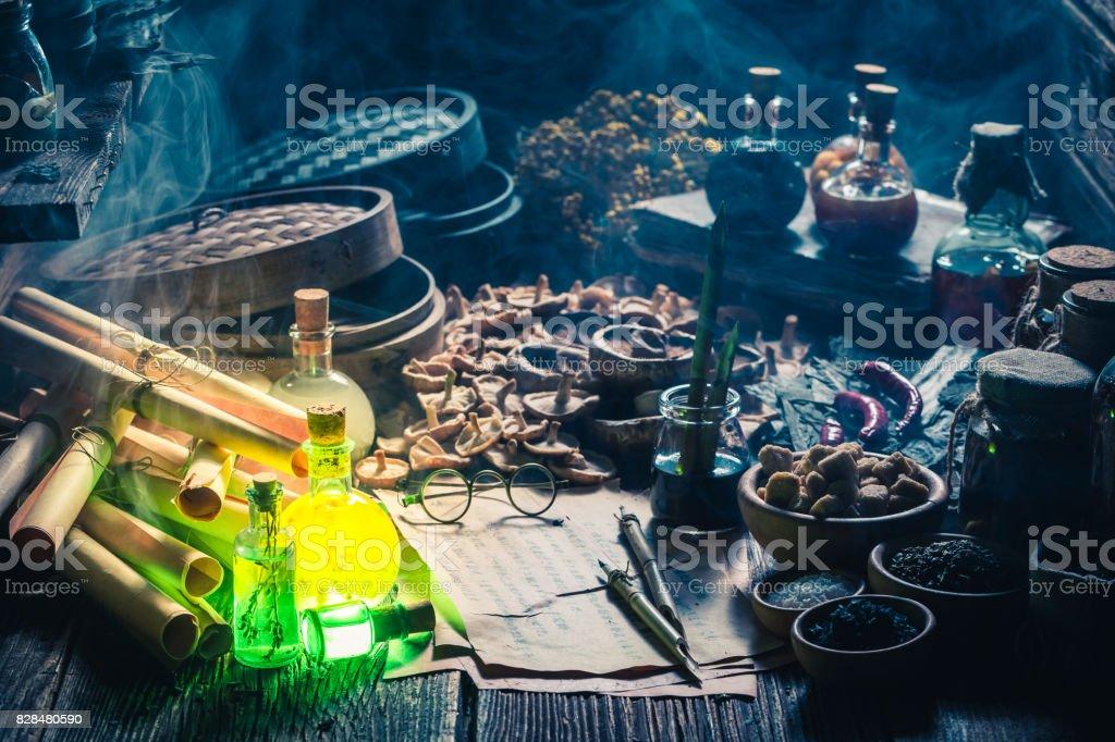 Looking for umami taste in vintage kitchen laboratory stock photo