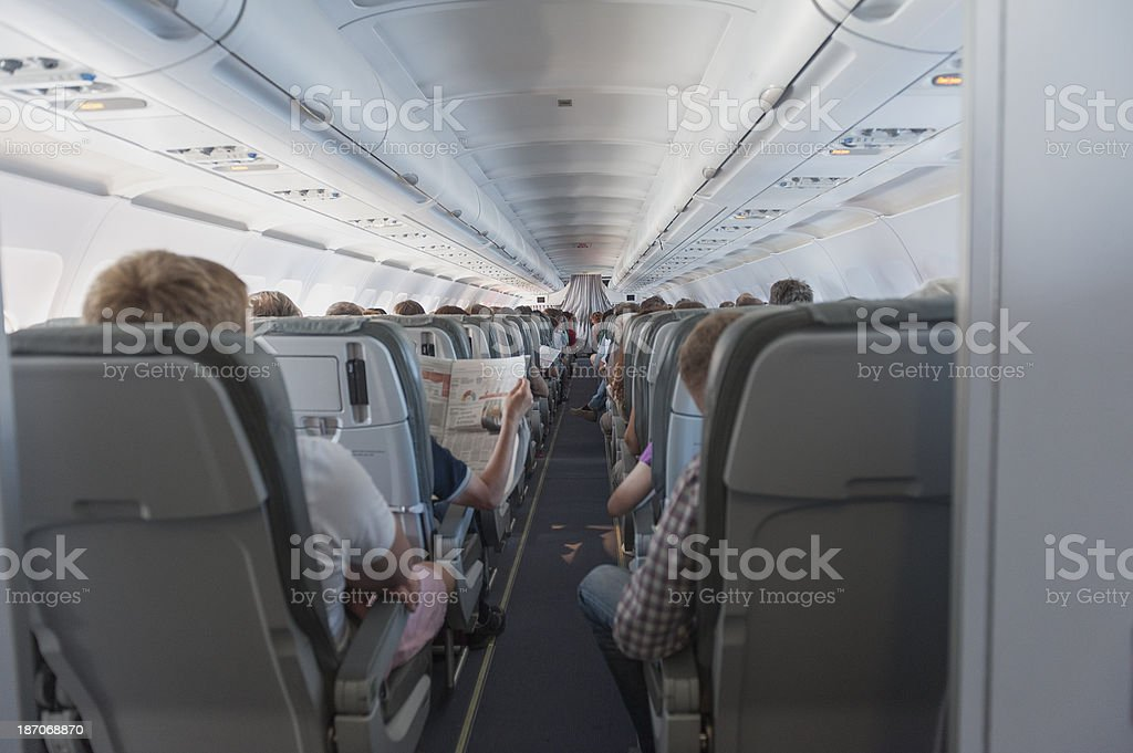 looking forward inside an airbus a319 stock photo