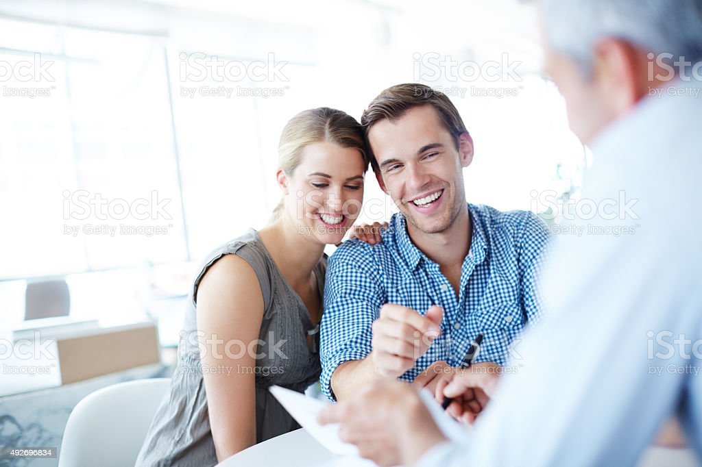 Looking forward to their financial freedom stock photo
