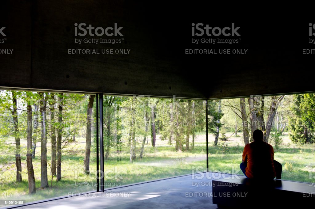 Looking from Bergen-Belsen visitors center stock photo
