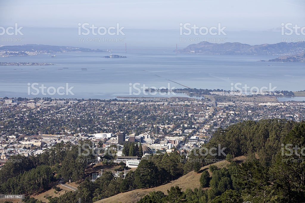 Looking From Berkeley To A Far Away Golden Gate Bridge stock photo