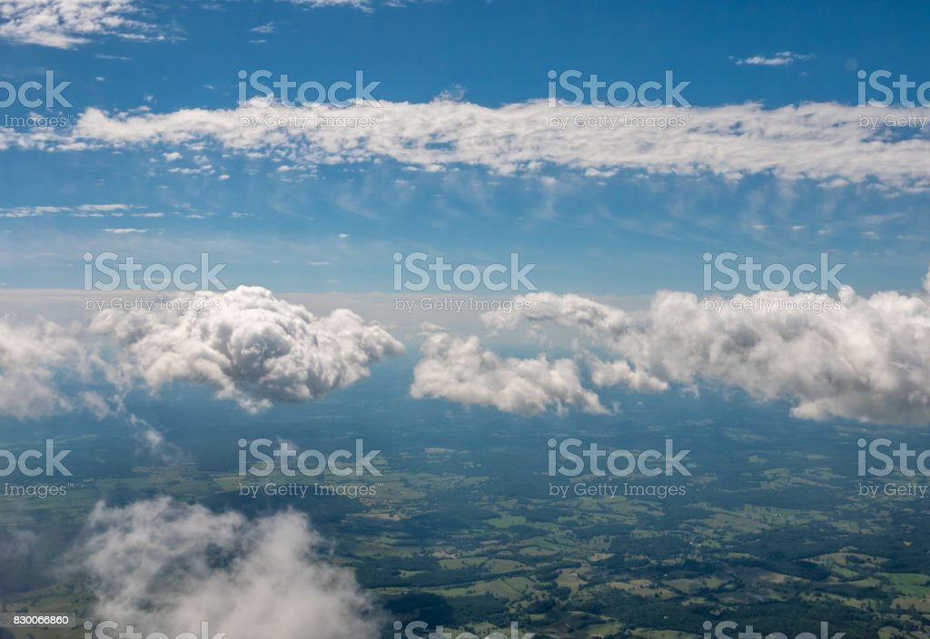 Looking from From Airplane Window Somewhere in Washington State stock photo