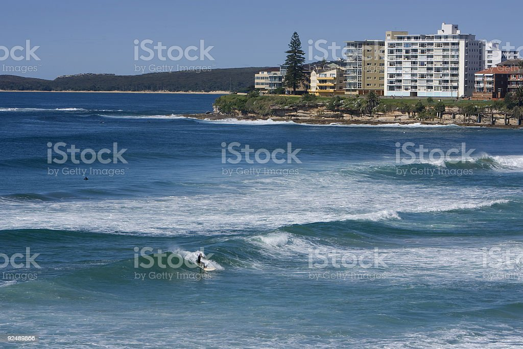 Looking from North towards South across surf to Cronulla Point royalty-free stock photo