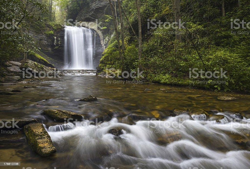 Looking Glass Falls North Carolina Blue Ridge Parkway Waterfalls NC stock photo