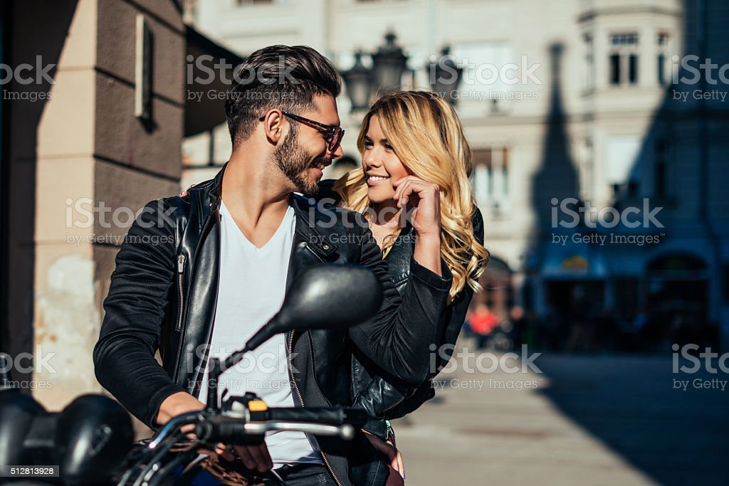 Looking happy together stock photo