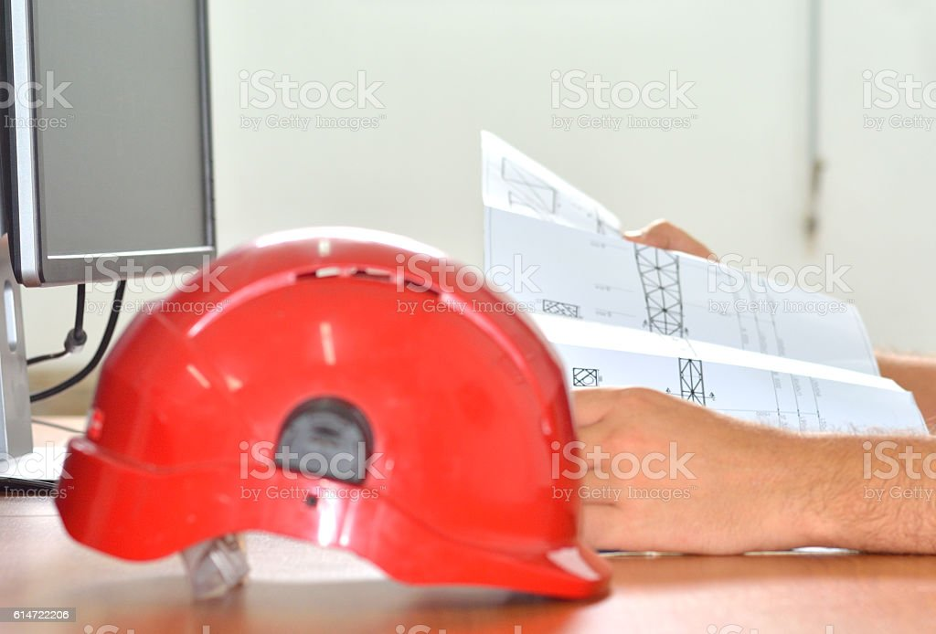 Looking in Blueprints at the Desk stock photo