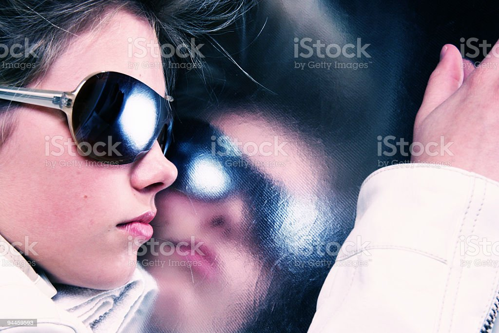 looking in the reflection royalty-free stock photo