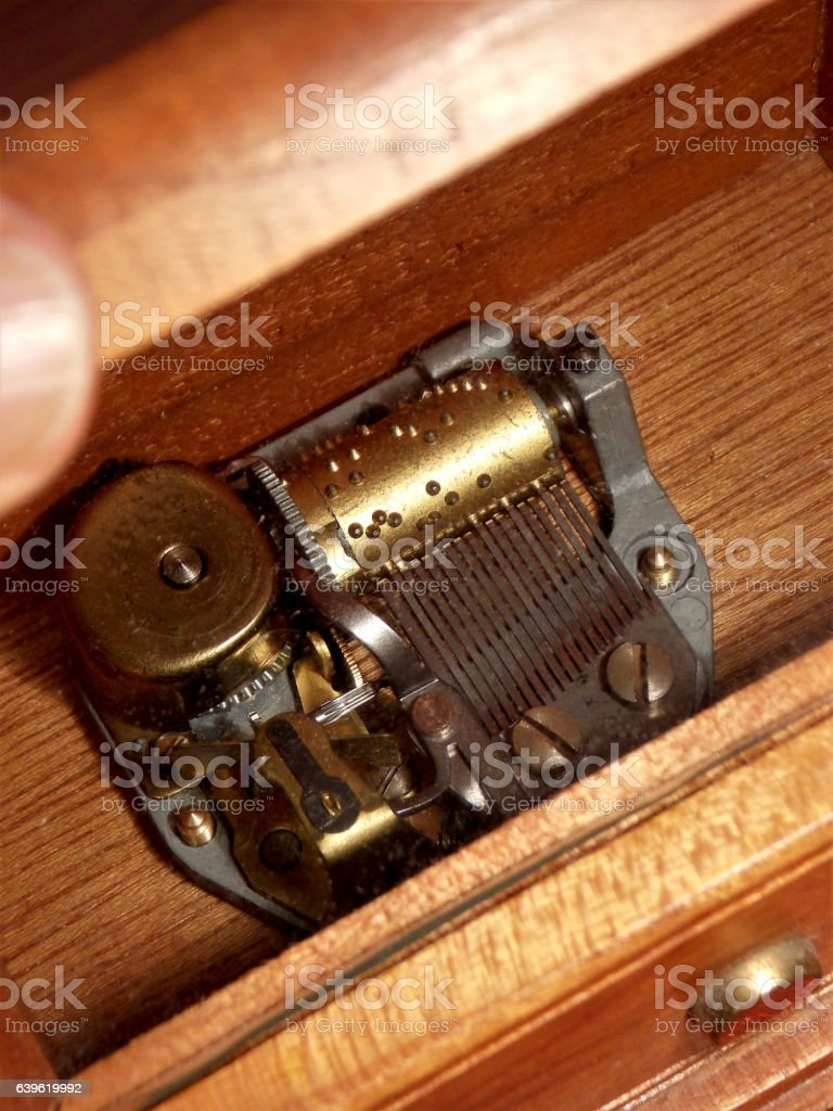 Looking Inside Mom's Wooden Music Box - Isolated Close Up stock photo