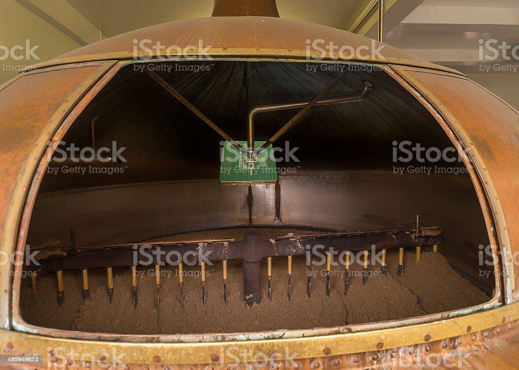 Looking inside the mash tun. stock photo