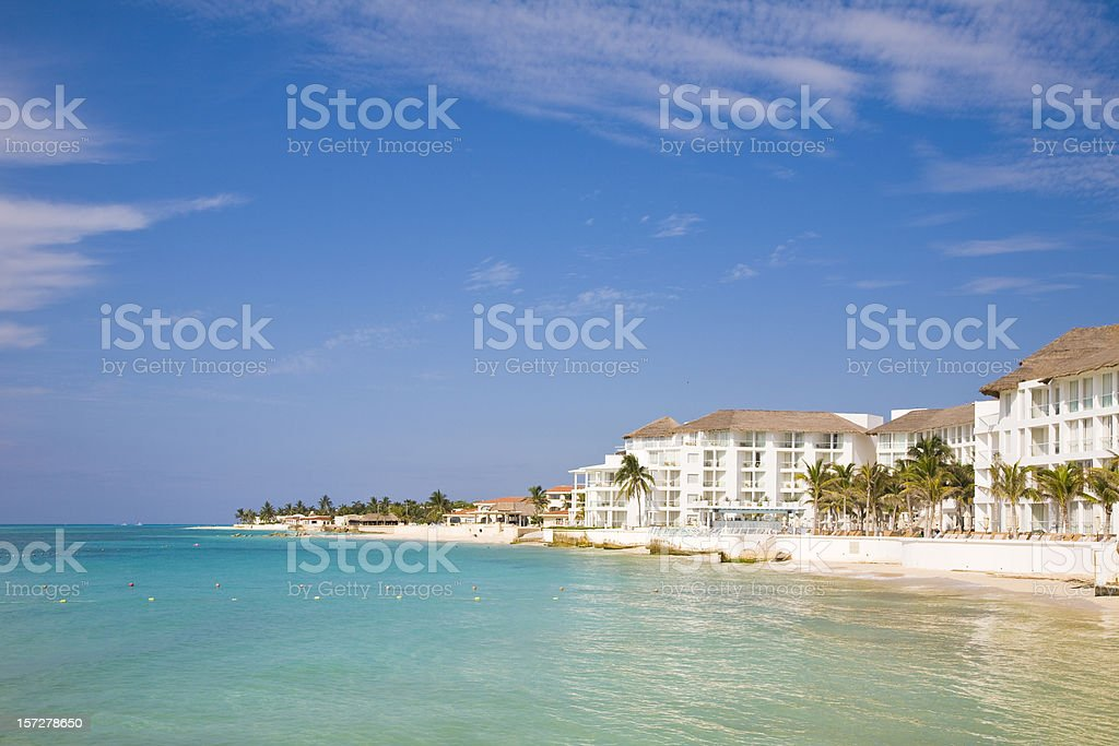 Looking into the beach at a resort on Playa Del Carmen stock photo
