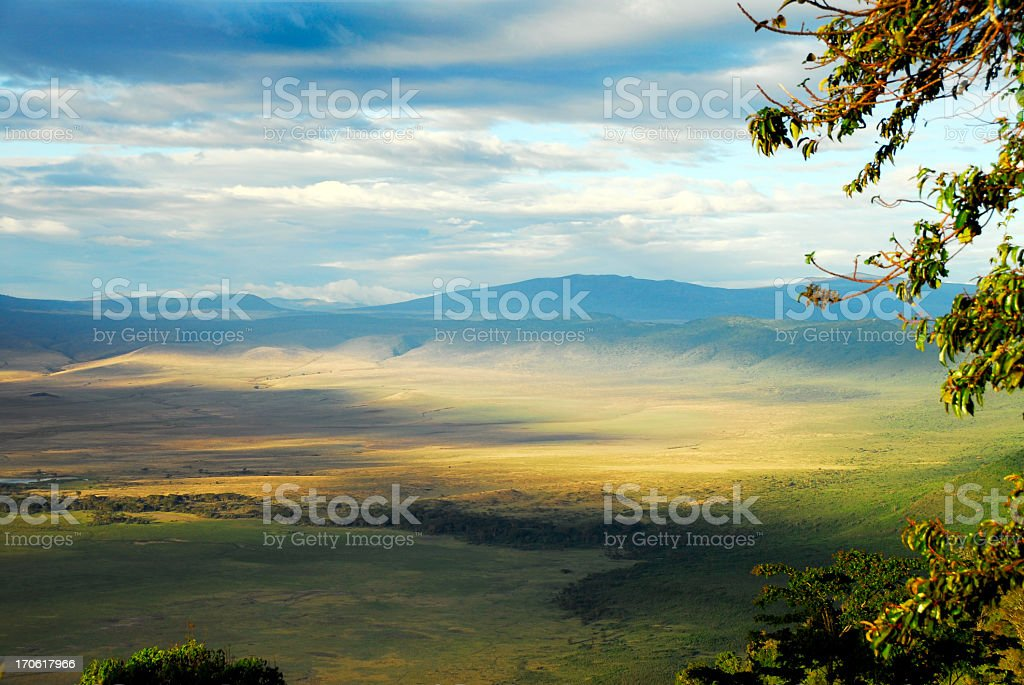 Looking into the Ngorongoro crater,Tanzania stock photo