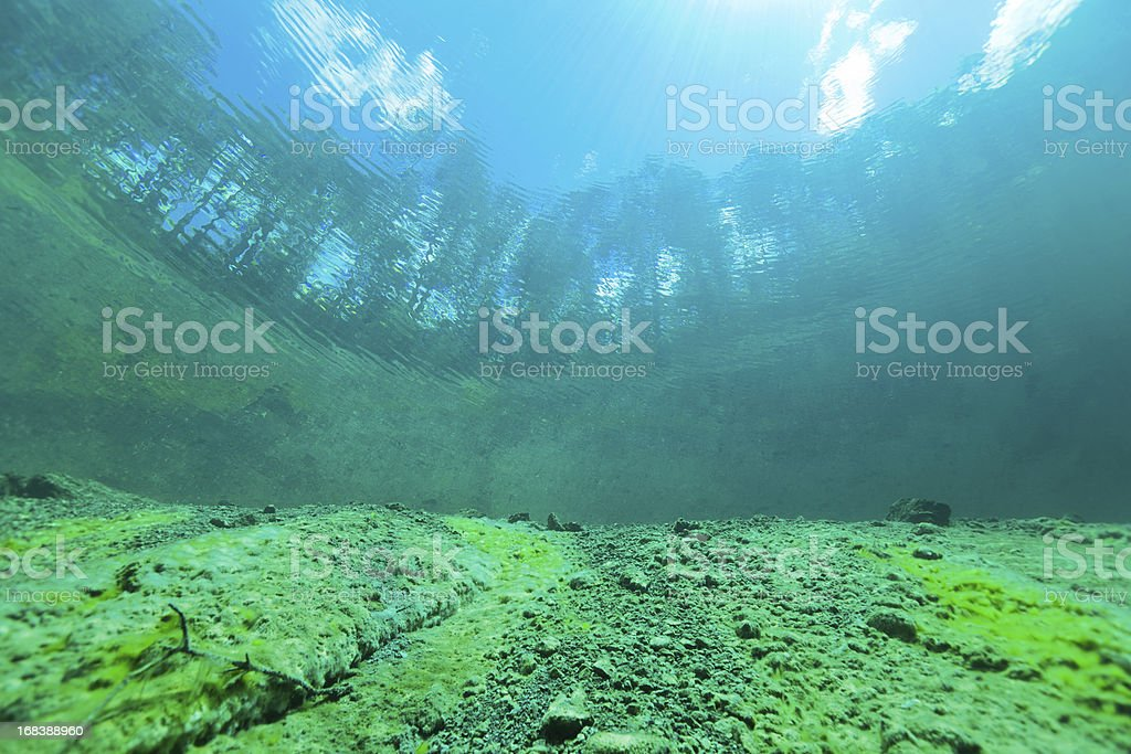 Looking into the World outside Water from Lake Samarang, Austria royalty-free stock photo