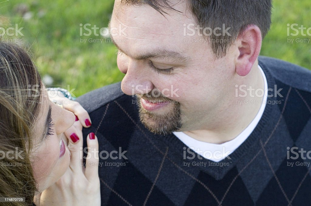 looking lovingly at each other stock photo