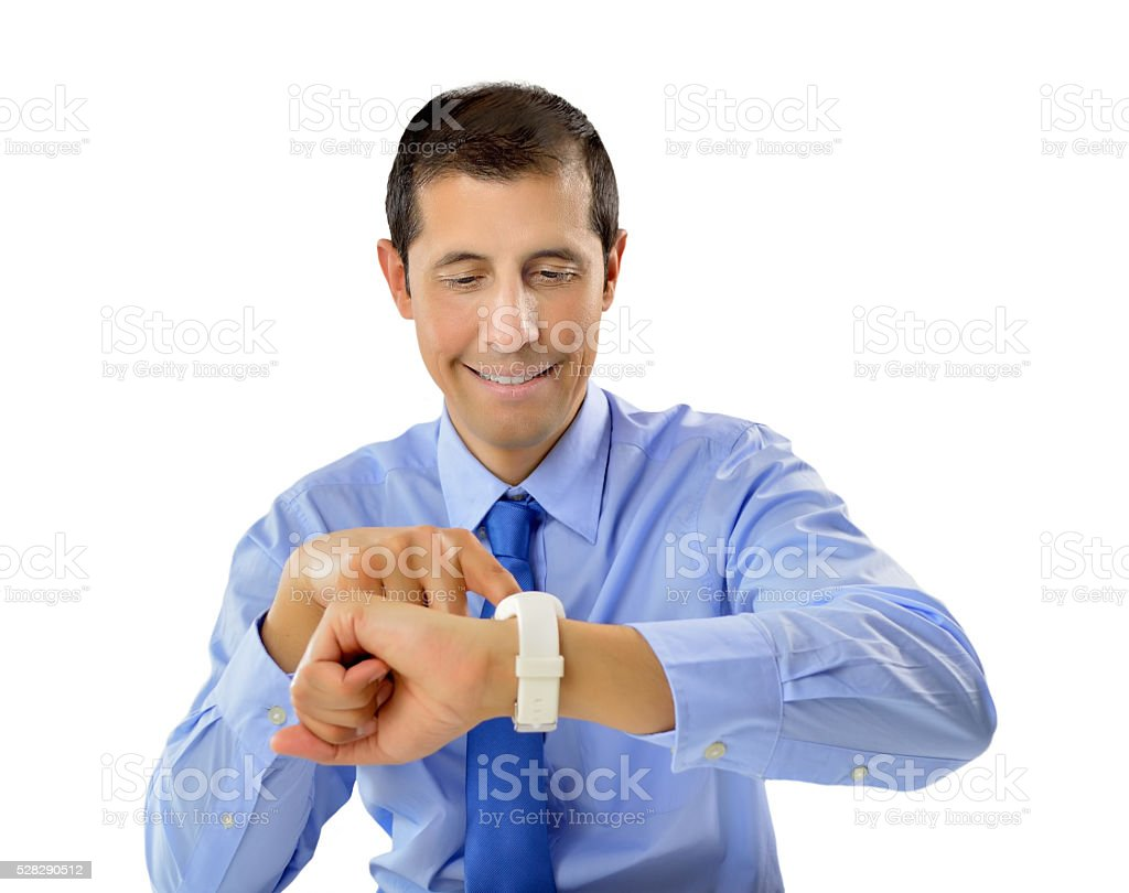 looking my new smartwatch stock photo