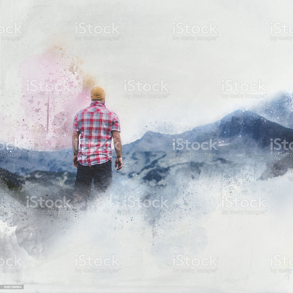 Looking on a mountains stock photo