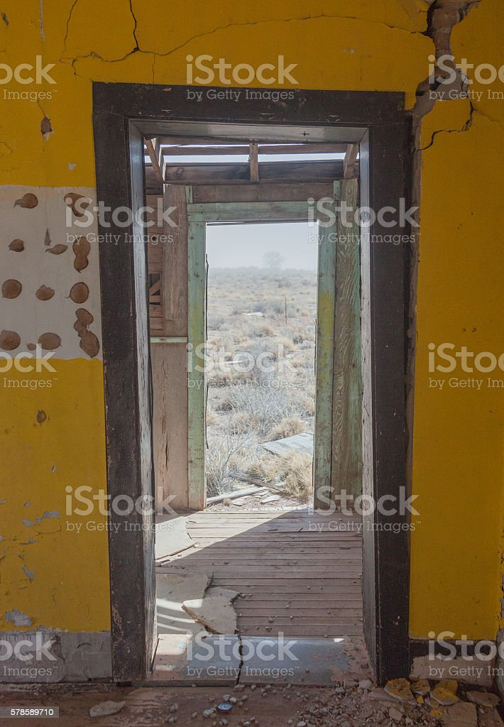 Looking Out at the Desert Through Double Doors stock photo