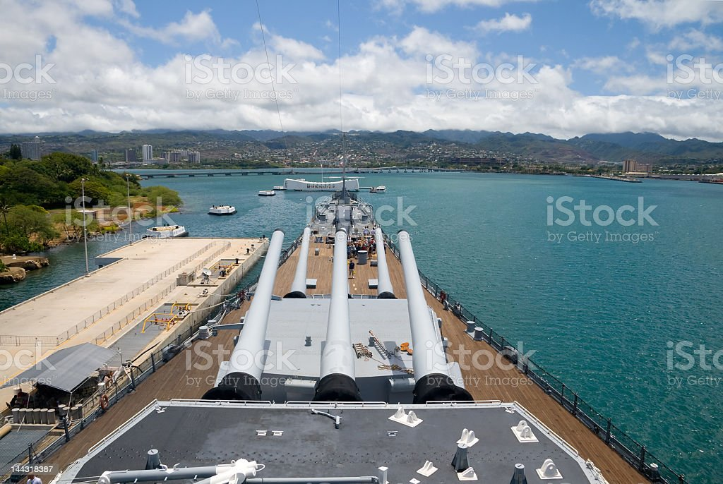Looking out at the water from the bow of the U.S.S. Missouri royalty-free stock photo