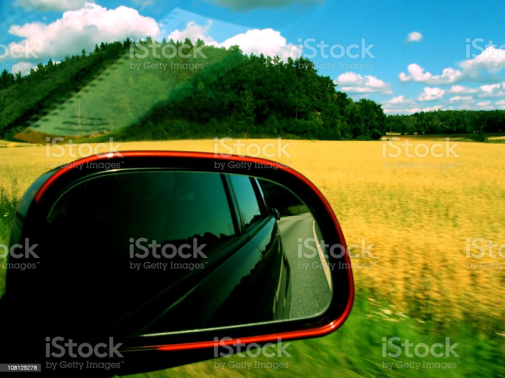 Looking Out Car Window at Rural Landscape royalty-free stock photo