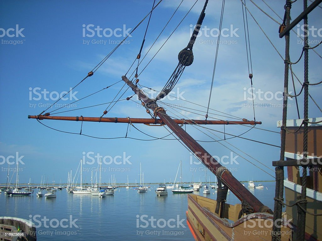 Looking out from Mayflower II stock photo