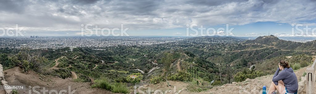 Looking out over LA from Mount Hollywood stock photo
