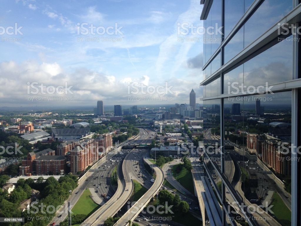 Looking out over North Atlanta from the W stock photo
