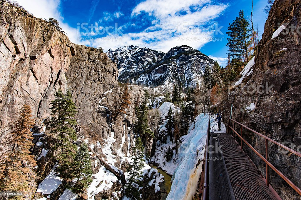 Looking out over Ouray Ice Park stock photo